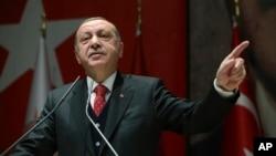 Turkey's President Recep Tayyip Erdogan addresses to his ruling party's provincial leaders in Ankara, Turkey, Nov. 17, 2017.