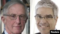داکتر رومیر (راست) و داکتر نوردهاوس، برندگان جایزۀ نوبل اقتصاد سال ۲۰۱۸