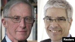 William Nordhaus dari Universitas Yale (kiri) dan Paul Romer dari Universitas New York meraih hadiah Nobel bidang Ekonomi 2018.