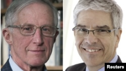 William D. Nordhaus dari Universitas Yale (kiri) dan Paul Romer dari Universitas New York, peraih Hadiah Nobel Ekonomi 2018.