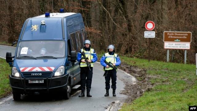 French gendarmes block access to the town of Dammartin-en-Goele, France, on Jan. 9, 2015.