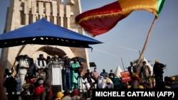 Imam Mahmoud Dicko akiwahutubia wafuasi wa upinzani mjini Bamako. June 19, 2020
