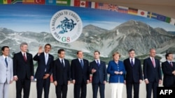 Barack Obama at the G8 in LA'quila, Italy.