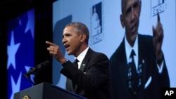 8일 바락 오바마 미국 대통령이 연방의회에서 열린 히스패닉 의원 모임에서 발언하고 있다.