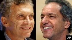 Kandidat presiden Argentina, Mauricio Macri, kiri, dan Daniel Scioli, kanan.