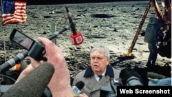 An image showing the U.S. Ambassador to Russia giving a press conference on the moon was used to make a point about propaganda in Russia.