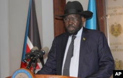 FILE - President of South Sudan Salva Kiir Mayardit speaks on the occasion of the sixth anniversary of his country's independence at the presidential palace in Juba, July 9, 2017.