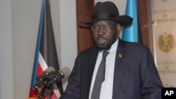 FILE - President of South Sudan Salva Kiir speaks at the presidential palace in Juba, July 9, 2017.