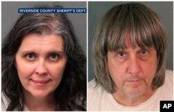 Pasangan suami-istri Louise Anna Turpin dan David Allen Turpin yang dituduh menyiksa dan menelantarkan 13 anaknya di Perris, California, 14 Januari 2018.