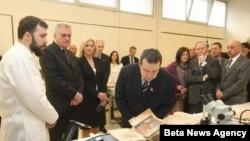 Predsednik Srbije Tomislav Nikolić i premijer Srbije Ivica Dačić na svečanosti povodom Dana Narodne biblioteke Srbije.