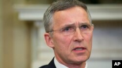 NATO Secretary General Jens Stoltenberg speaks during his meeting with President Barack Obama in the Oval Office of the White House in Washington, April 4, 2016. Stoltenberg told VOA's Serbian Service that the alliance was preparing to step up its response to Islamic State and a more assertive Russia responsible for aggressive actions in Ukraine.
