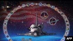 Bức ảnh phi thuyền con thoi Discovery này được trưng bày ở phòng Firing Room 4 của Trung tâm điều khiển phóng phi thuyền thuộc Trung tâm không gian Kennedy của NASA ở Florida.