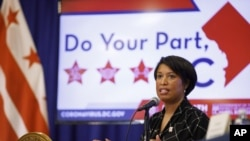 District of Columbia Mayor Muriel Bowser speaks during a news conference, Wednesday, May 27, 2020, in Washington, D.C.