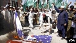 20일 파키스탄 쿠에타에서 벌어진 반미 시위.