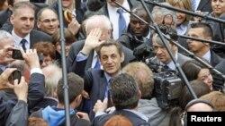Presidente francês cessante, Nicolas Sarkozy em campanha para a segunda-volta das eleições presidenciais de Domingo