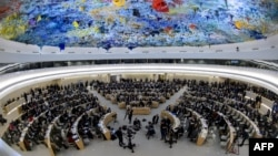 FILE - A general view of the United Nations Human Rights Council in Geneva, Switzerland.
