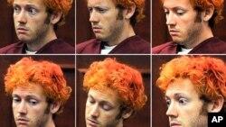 Bức ảnh cho thấy những vẽ mặt khác nhau khác nhau của Holmes khi đương sự ra phiên tòa đầu tiên