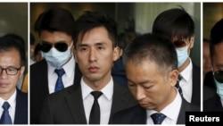 从左至右: 2015年10月19日7名被控殴打抗议者的警察: 警员关嘉豪、警长白荣斌、警员黄伟豪、高级督察刘卓毅、总督察黄祖成、警员陈少丹、警员刘兴沛,离开香港法院