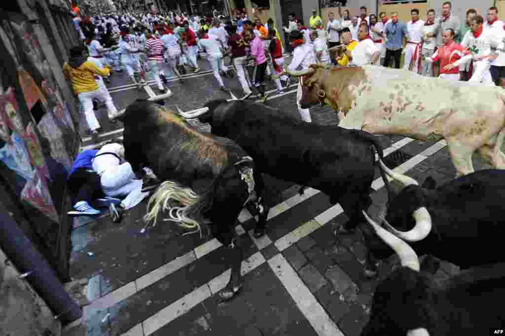 Participants run in front of Dolores Aguirre Ybarra's bulls during the second bull-run of the San Fermin Festival in Pamplona, northern Spain.