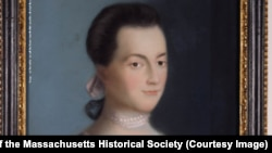 Abigail Adams, portrait by Benjamin Blyth, circa 1766. The portrait was painted around the time she married John Adams.