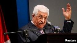 Presiden Palestina Mahmoud Abbas dalam upacara pembukaan pameran kota Ramallah, Tepi Barat.