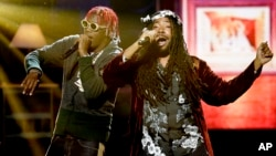 Big Baby D.R.A.M., right, and Lil Yachty perform during the BET Hip Hop Awards in Atlanta, Sept. 17, 2016.