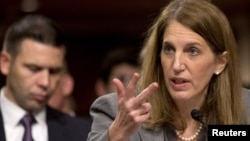 Health and Human Services Secretary Sylvia Burwell testifies before the Senate Appropriations Committee hearing on the government's Ebola response in Washington, Nov. 12, 2014.