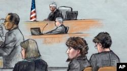지난 6일 미국 보스턴 마라톤 폭탄 테러 사건 용의자에 대한 재판이 진행되고 있는 법정 모습 스케치.