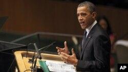 Президент США Барак Обама. Штаб-квартира ООН в Нью-Йорке. 25 сентября 2012 г.
