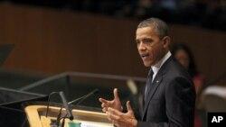 Predsednik Barak Obama obraća se učesnicima 67. zasedanja Generalne skupštine UN u Njujorku, 25. septembra 2012.