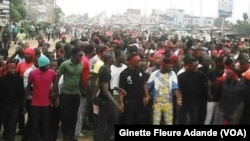 Une manifestation d'étudiants à Cotonou, le 11 août 2016. VOA/ Ginette Fleure Adande