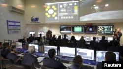 Team members of the Israel spacecraft, Beresheet, are seen in the control room in Yahud, Israel, April 11, 2019.
