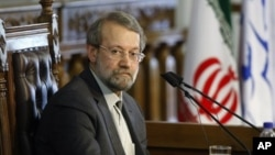 "The head of Iran's parliament Ali Larijani, said, ""We proudly support the Palestinians, militarily and financially."" (file photo)"
