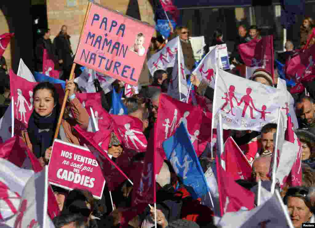 Opponents to gay marriage, adoption and procreation assistance wave flags and shout slogans during a demonstration in Marseille, France.