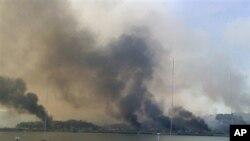 南韓延坪島受到北韓砲彈攻擊後起火燃燒