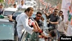 លោក Rahul Gandhi អនុប្រធានគណបក្ស Congress និងជាកូនប្រុសលោកស្រី Sonia Gandhi ប្រធានគណបក្ស Congress ក្នុងអំឡុងពេលយុទ្ធនាការឃោសនាបោះឆ្នោតកាលពីថ្ងៃទី២៦ ខែកុម្ភៈ ឆ្នាំ២០១៤។