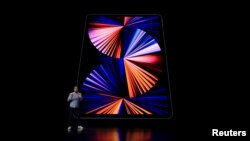 Apple's Raja Bose introduces the new iPad Pro, in this still image from the keynote video of a special event at Apple Park in Cupertino, California, U.S. released April 20, 2021. Apple Inc./Handout via REUTERS.