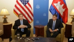 W. Patrick Murphy (left) visited Cambodia in December 2017 as the U.S. Deputy Assistant Secretary for Southeast Asia. On that visit he spoke alongside then U.S. Ambassador to Cambodia William A. Heidt. Murphy is set to soon succeed Heidt in the Phnom Penh position.