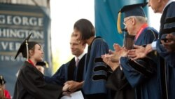 Michelle Obama at the George Washington University graduation in Washington