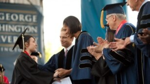 Michelle Obama at the George Washington University graduation in Washington