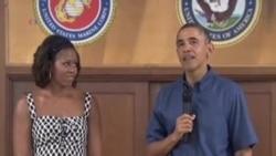 دیدار پرزیدنت اوباما از پایگاه تفنگداران نیروی دریائی