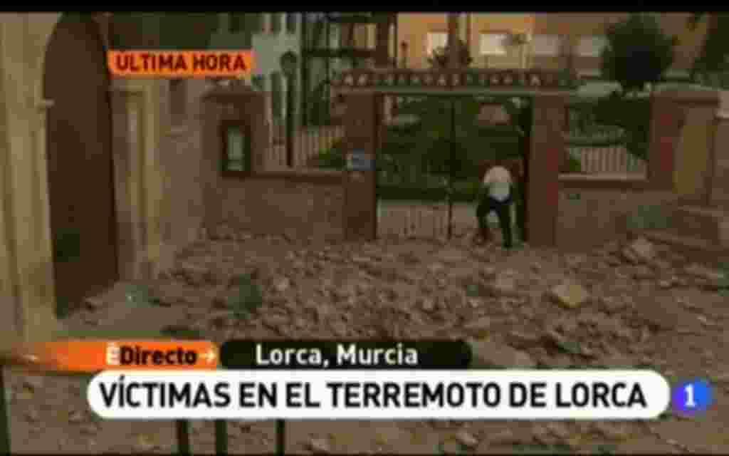 RTVE muestra las imágenes de los edificios derrumbados en Lorca.