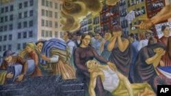 描写导致146人死亡的三角牌连衣裙工厂火灾的壁画