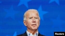 អតីតប្រធានាធិបតីលោក Joe Biden បេក្ខជនប្រធានាធិបតីខាងគណបក្សប្រជាធិបតេយ្យ ថ្លែងនៅក្នុងសន្និសីទសារព័ត៌មានមួយ នៅទីក្រុង Wilmington រដ្ឋ Delaware កាលពីថ្ងៃទី៥ ខែវិច្ឆិកា ឆ្នាំ២០២០។