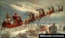 Santa Claus in his reindeer-powered, toy-laden sleigh, on his appointed rounds