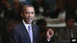 美國總統奧巴馬星期三早上在紐約聯合國總部發表講話。