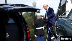 美国总统特朗普10月4日抵达沃尔特•里德(Walter Reed)陆军医院。