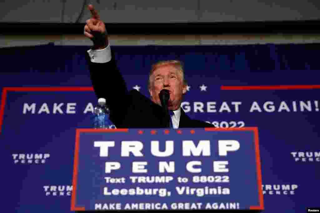 آخرین روز مبارزه برای کاندیدهای ریاست جمهوری آمریکا، دونالد ترامپ، کاندید جمهوریخواه، در یکی از آخرین تجمعهای تبلیغاتی در ایالت ویرجینیا سخنرانی میکند.