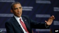 奥巴马总统5月4日在哥斯达黎加圣何塞参加一个有关经济发展的讨论会