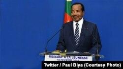 Le président camerounais Paul Biya prononce un discours à l'occasion de la fête de la Jeunesse, Yaoundé, Cameroun, 10 février 2018. (Twitter/Paul Biya)